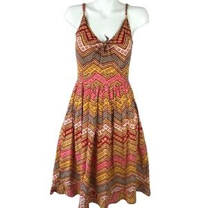 Size 2 Odille Sleeveless Multicolor Retro Dress